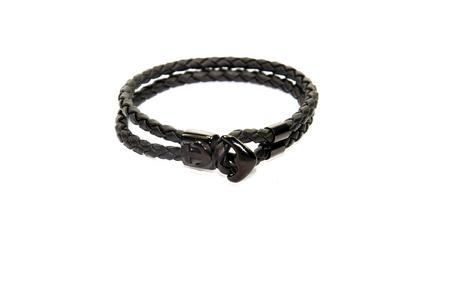 collet: anchor figure black leather men bracelet Stock Photo