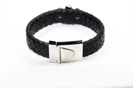 collet: black men bracelet Stock Photo