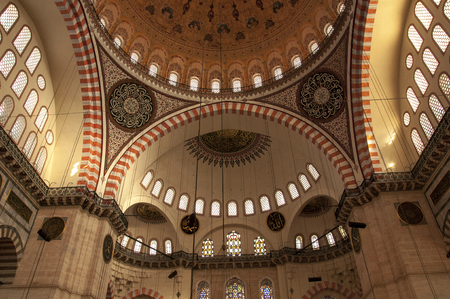 suleyman: Detail of the ceiling of the Suleyman Mosque Sleymann Mosque in Istanbul, Turkey.