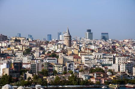 urban sprawl: Beyoglu district historic architecture and Galata tower medieval landmark in Istanbul, Turkey