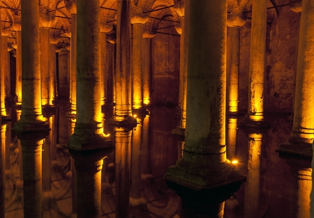 cistern: Famous tourist spots in Istanbul pressed, it turns Cistern Stock Photo