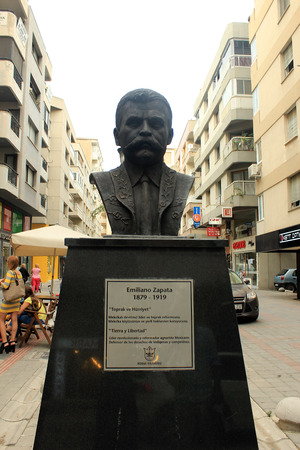 rebels: Izmir, Turkey - September 26, 2015: Emiliano Zapata in Mexico buster Street, Izmir, Turkey