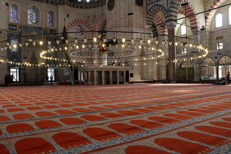 suleyman: Suleymaniye Mosque interior, Fatih District of Istanbul. Turkey