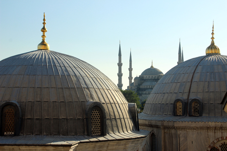 byzantium: The view from Hagia Sophia, the Blue Mosque in Istanbul Turkey