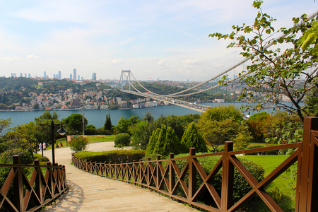 View of the Bosphorus and the Fatih Sultan Mehmet Bridge photo, taken from Otagtep to Beykoz in Istanbul, Turkey