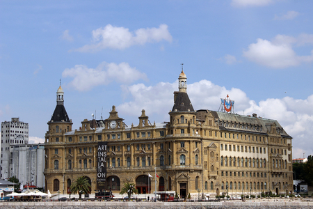 haydarpasa: Istanbul, Turkey - September 22, 2015: Haydarpasa railway terminal in the Asian part of Istanbul, Turkey. Built in 1909 by the Anatolian Railway, has become a symbol of Istanbul and Turkey