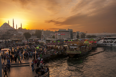 Istanbul, Turkey - October 20, 2015: Istanbul skyline with Suleymaniye mosque and city life view from the Bosphorus strait in Istanbul, Turkey