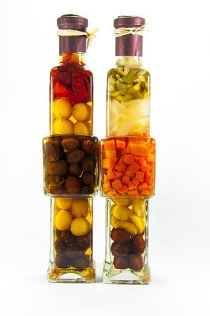 preserved: Preserved vegetables in glass bottle