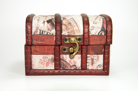 treasure chest: A wooden jewel box. Could be used as a treasure chest.