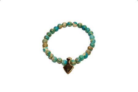 wrist strap: Turquoise bracelet isolated on white background Stock Photo