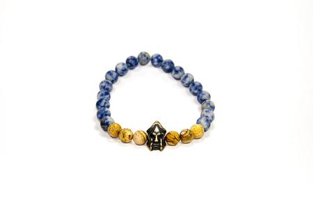 wrist strap: Spartan figure bead men bracelet isolated on white background