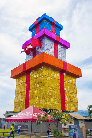 turistic: MEDELLIN, COLOMBIA, DECEMBER - 12, 2016 - Multicolored gift tower in the top of the Nutibara hill at the Pueblito Paisa, a traditional turistic small colonial village in the city of Medellin, Colombia.
