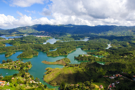 Panoramic view from the Rock of Guatape in Medellin, Colombia