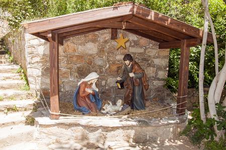 Joseph Mary and Baby Jesus statues in Virgin Mary house, Ephesus, Turkey Stock Photo