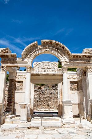 novel: Temple of Hadrian, Ephesus, Turkey, Stock Photo