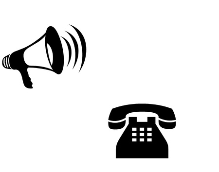 Speaker and telephone icons