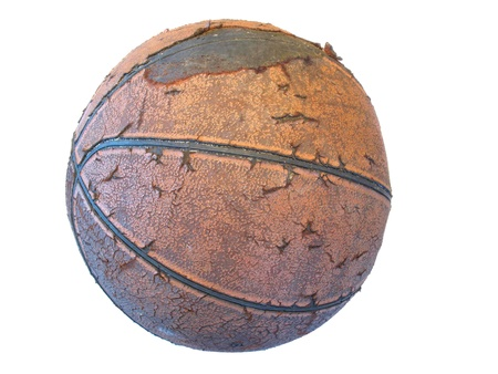 Old worn basketball Stock Photo