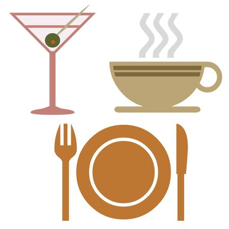 dinnerware: Beverage and dinnerware icons Stock Photo
