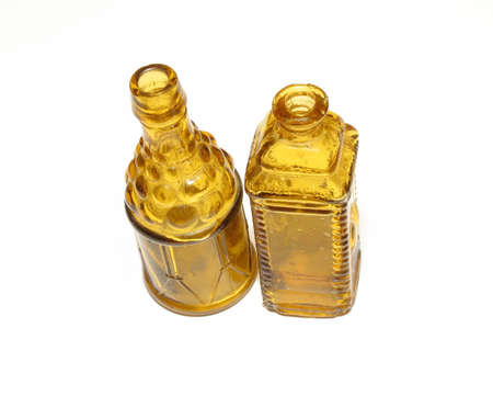Tiny glass bottles Stock Photo