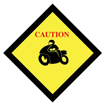 racing sign: Motorcycle caution sign icon Stock Photo