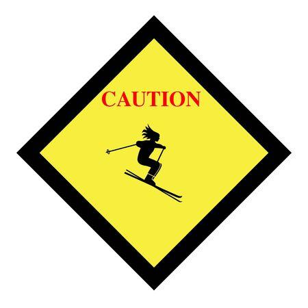 achtung schild: Skifahren Vorsicht Zeichen Symbol