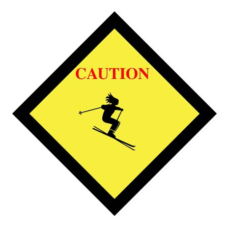 Skiing caution sign icon