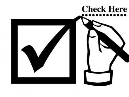 Check mark and hand illustration Stock Photo