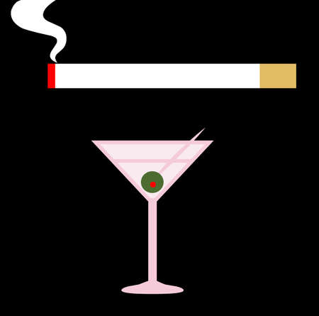 Cigarette and martini illustration