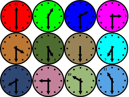 Colored clock icons