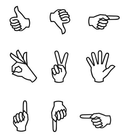 様々 な指のアイコン