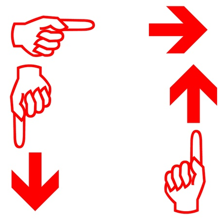 Finger and arrow icons