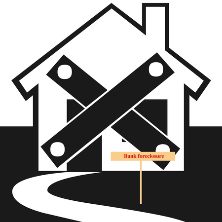 foreclosed: Foreclosed home illustration Stock Photo