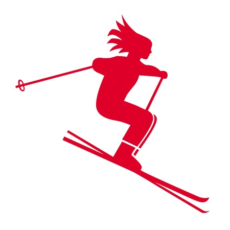 Girl skier illustration