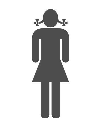 hair do: Girl and pigtail illustration