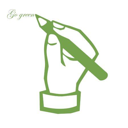 hand writing: Hand writing go green illustration