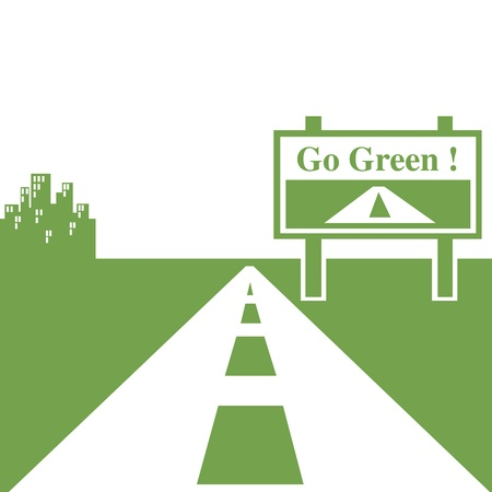 Go green city and highway  illustration
