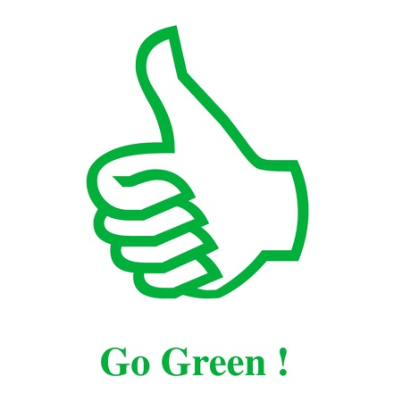 図を行く緑の親指 写真素材