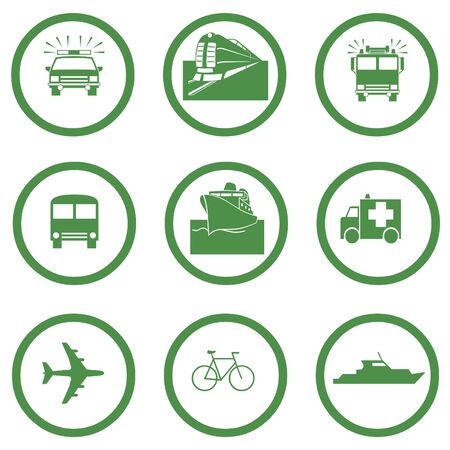 go green: Go green transportation icons