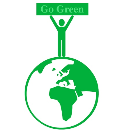 business graphics: Go green world illustration Stock Photo