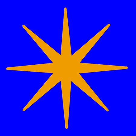 Gold star on blue background