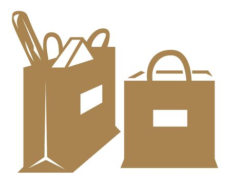 Grocery bags illustration Stock Photo