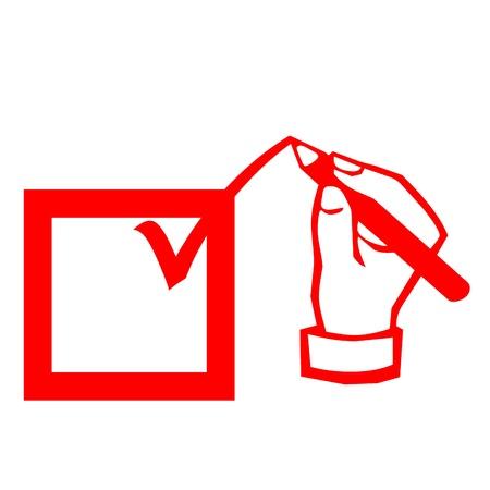 hand writing: Check mark  box and hand writing illustration