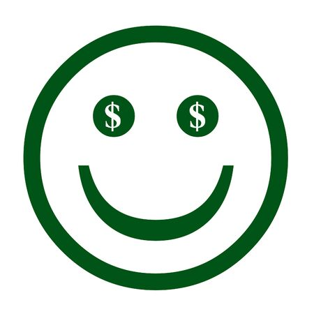 Dollar sign and happy face illustration