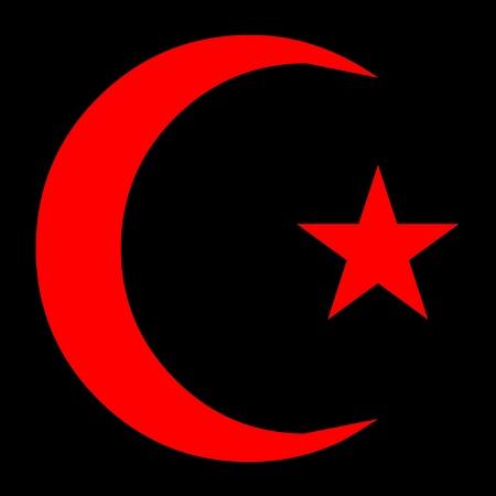 黒い図にイスラム教の記号