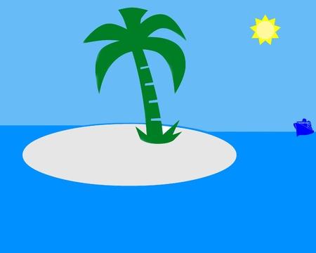 retreat: Tropical paradise illustration Stock Photo