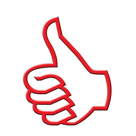 folded hand: Artistic designed thumb up icon Stock Photo