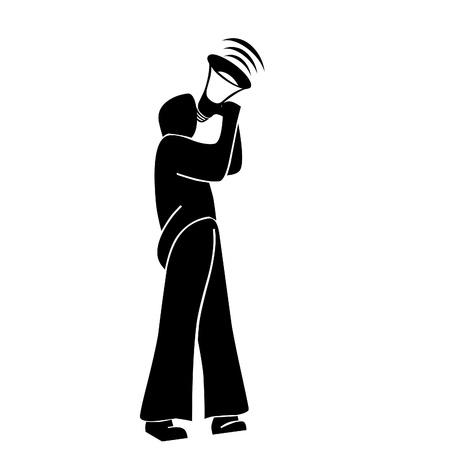caller: Man calling  on hand speaker illustration