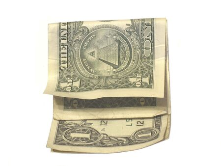 Folded dollar bills photo
