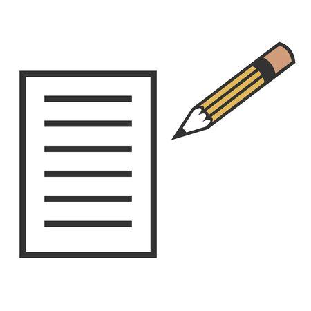 紙と鉛筆のイラスト 写真素材