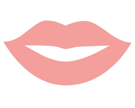 Pink lips icon Stock Photo